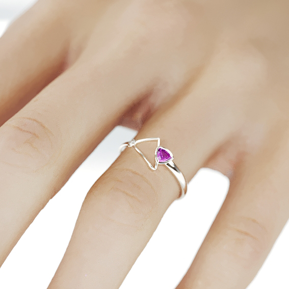 14K White Gold Pink Sapphire Ring | Handmade Solid 14K white gold statement ring set with trillion cut Pink Sapphire and a Diamond
