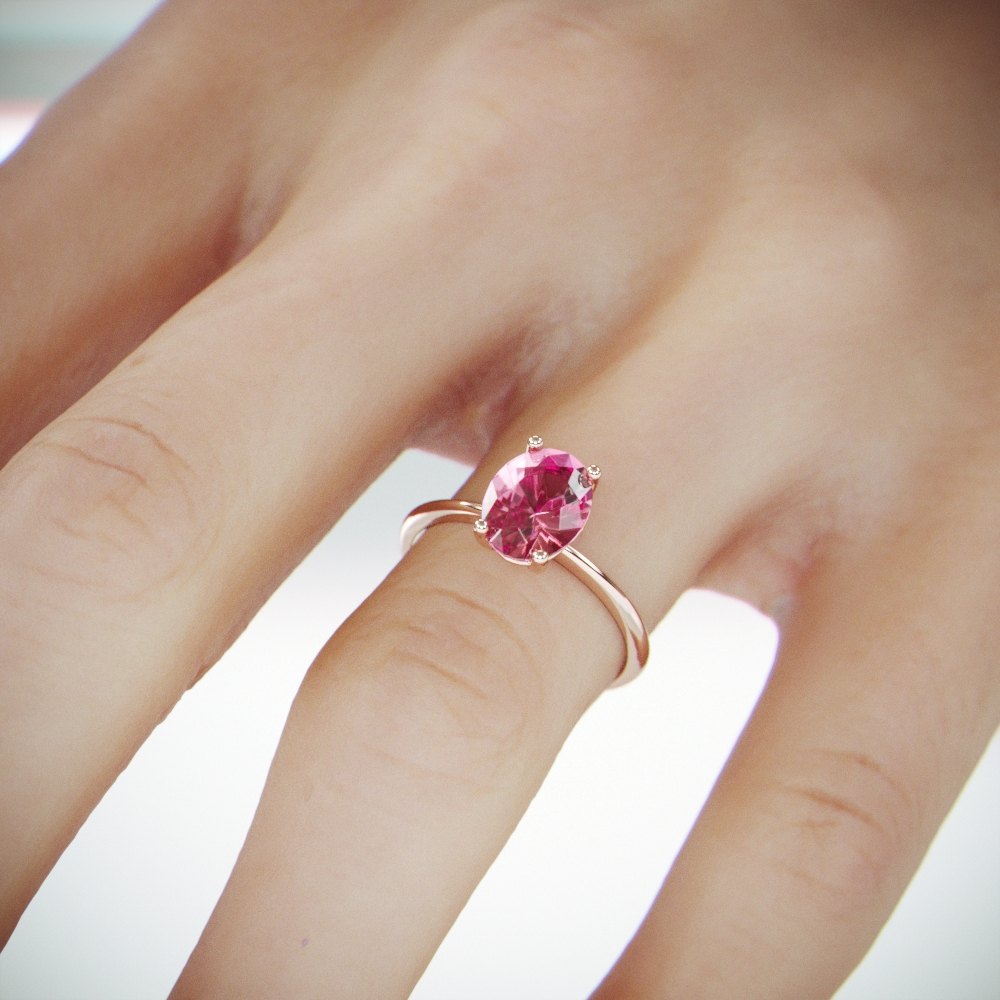 Rose Gold Pink Tourmaline Ring | Rose Gold Pink Tourmaline Engagement Ring | October Birthstone Ring