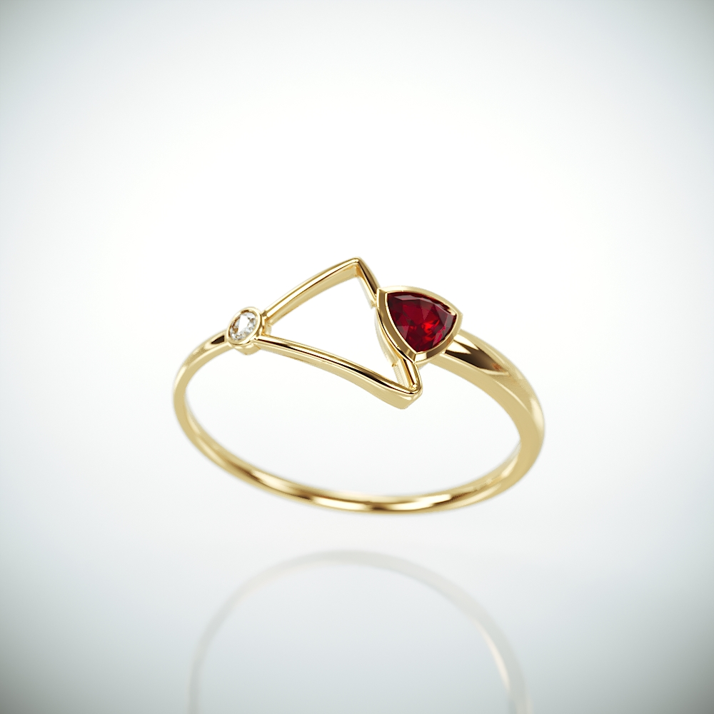 14k Gold Ring set with Ruby and Diamond | Solid 14k gold promise ring set with trillion cut natural Ruby and a brillinat diamond