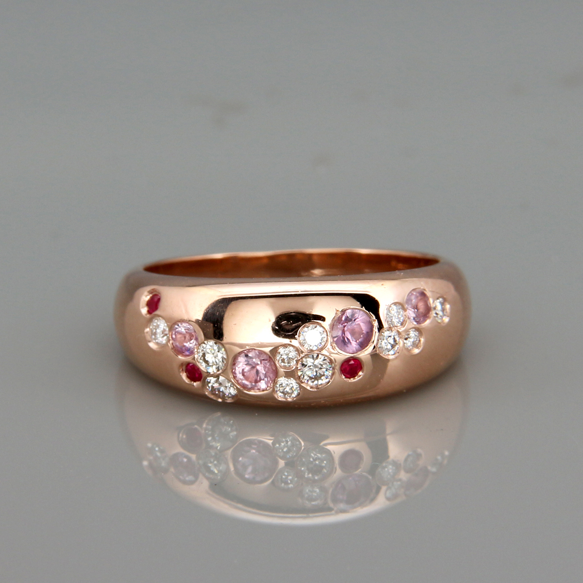 Cherry Blossom 14k Rose Gold Cluster Ring set with Diamonds Ruby and Pink Sapphire |14k rose gold ring inspired by the cherry blossom