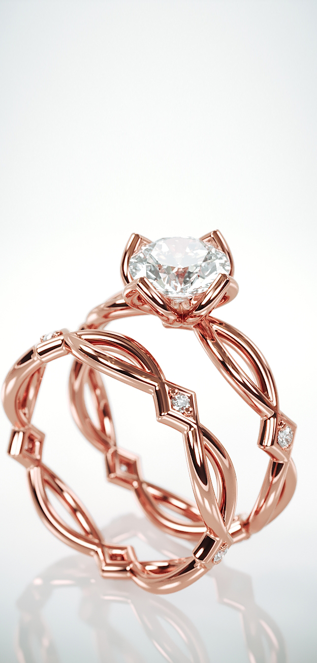 Rose Gold Celtic Bridal Ring Set | 14k Rose Gold Bridal Wedding Band Set with Charles & Colvard Forever One Moissanite and diamonds