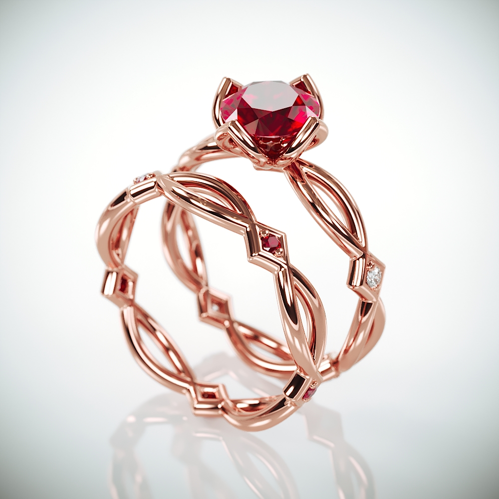 Ruby Bridal Ring Set | 14k Rose Gold Wedding Bridal Band Set with Natural Ruby and diamonds
