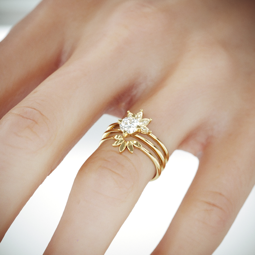 14k Gold Bridal Set 3 Rings | 14K Gold Wedding ring set with Marquise Diamonds and Charles & Colvard Moissanite Engagament Ring