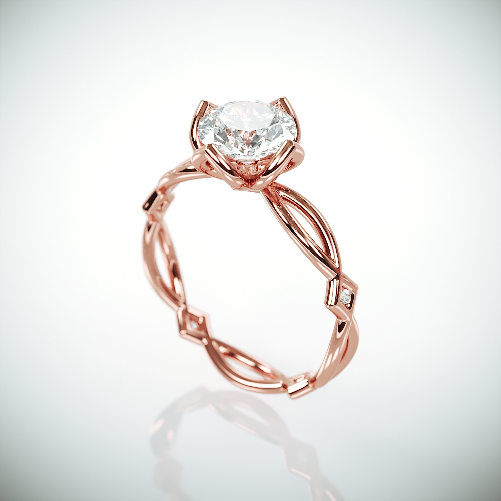 Delicate Moissanite Engagement Ring | Rose Gold Engagement Ring set with 1ct Charles & Colvard Forever One Moissanite and Diamonds