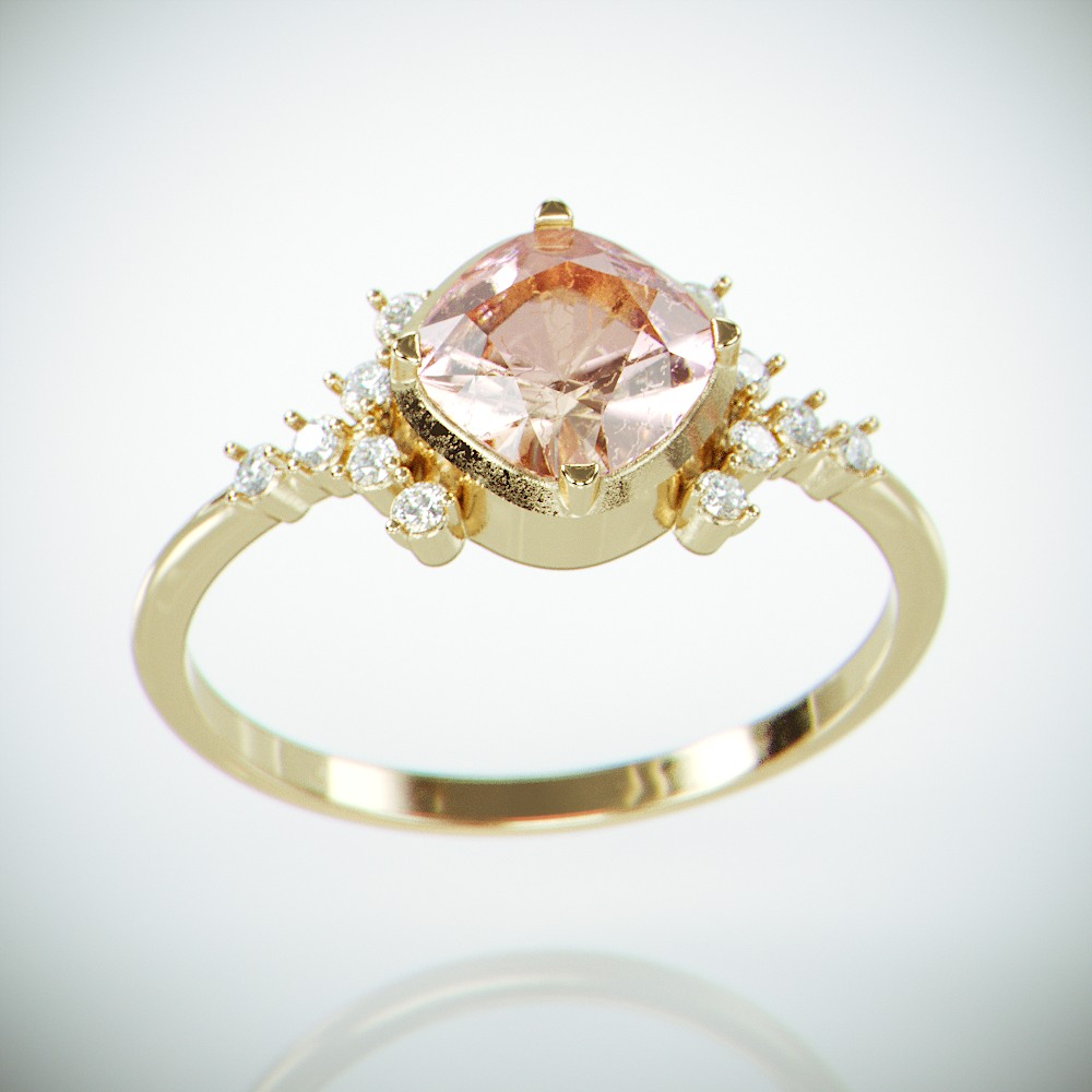 14K Gold Morganite and Diamonds engagement ring |Solid gold engagement ring set with Cushion Morganite & Tiny diamonds |Morganote Ring