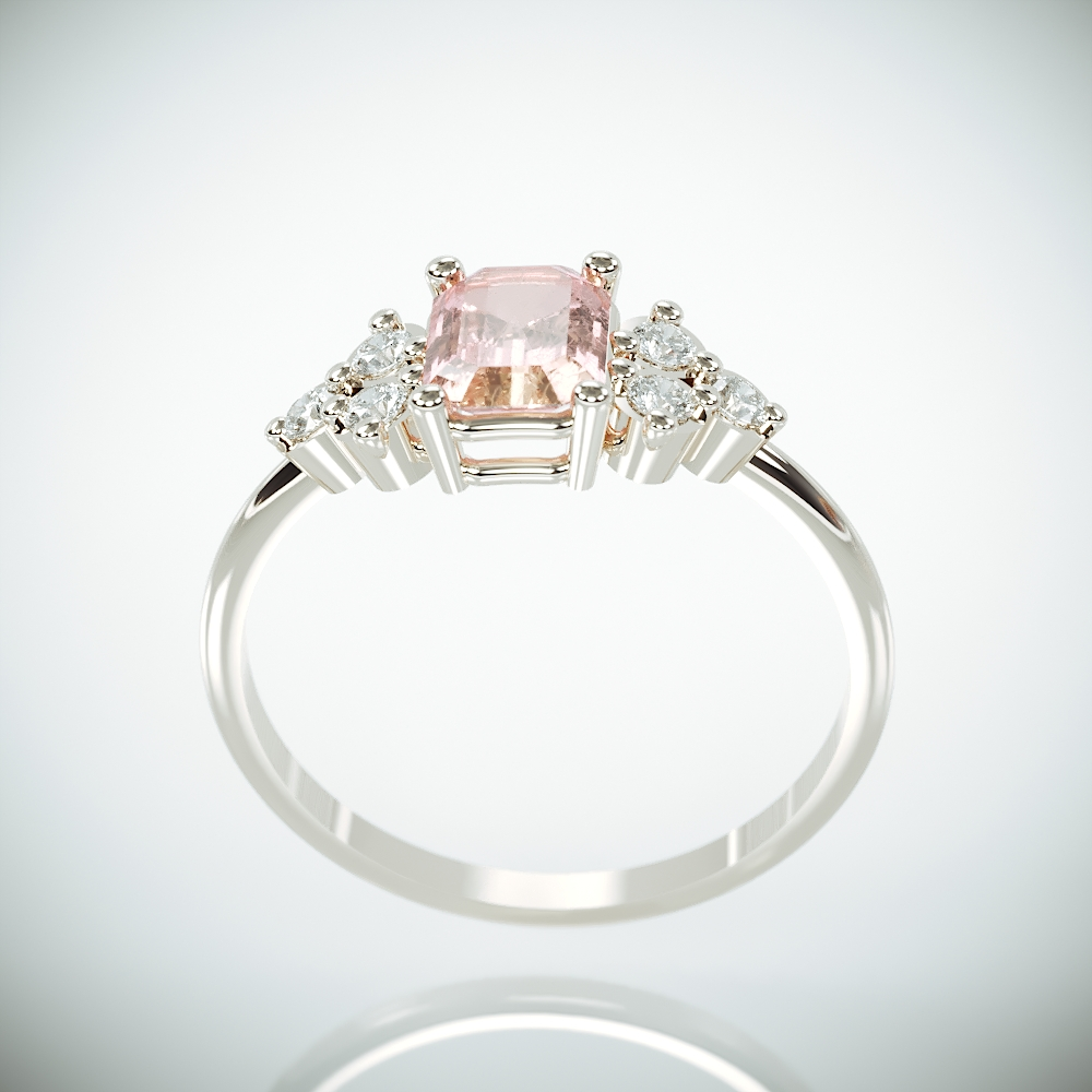 Morganite Engagement Ring | White Gold Peach Morganite Ring set with Diamonds | Emerald Cut Pink Morganite Ring