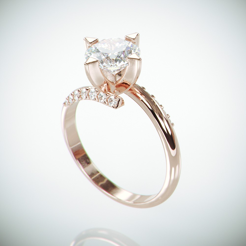 14k Rose Gold Open Shank Engagement Ring set with Moissanite and Diamonds | Charles and Colvard Celtic Forever One Engagement Ring