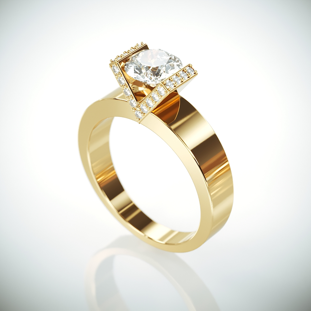 14K Solid Gold Moissanite Engagement Ring | 14k yellow gold Forever One Mossanite and Diamonds engagement ring Charles & Colvard