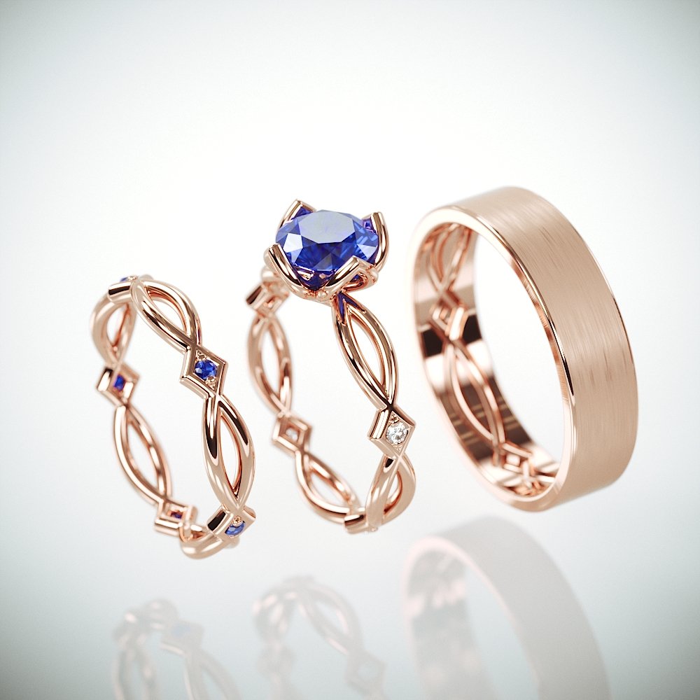 14K Rose Gold Celtic Wedding Rings Set with Natural Sapphire and and Diamonds | His and Hers rings set with sapphire and diamonds