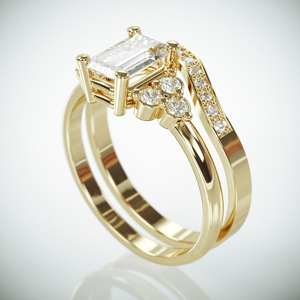 14K Gold Engagement and Wedding Rings set with Moissanite and Diamonds | Charles & Colvard Forever One Rings