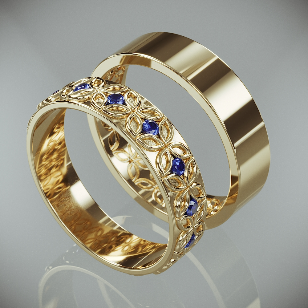 14K Gold Celtic Flower Wedding Rings Set with Blue Sapphire |14k Gold Celtic flower Wedding Bands Set with Sapphire