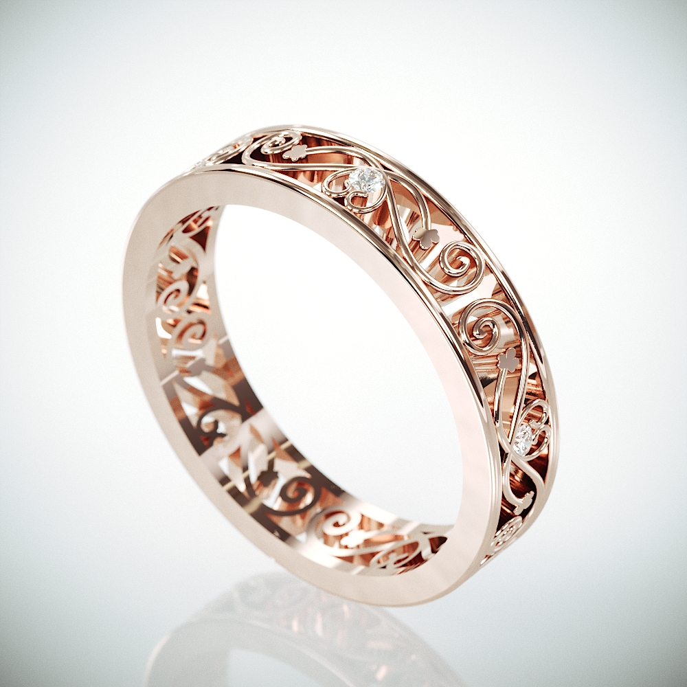 Filigree Wedding Band | Rose Gold Filigree Ring set with Diamonds | Woman Wedding Ring