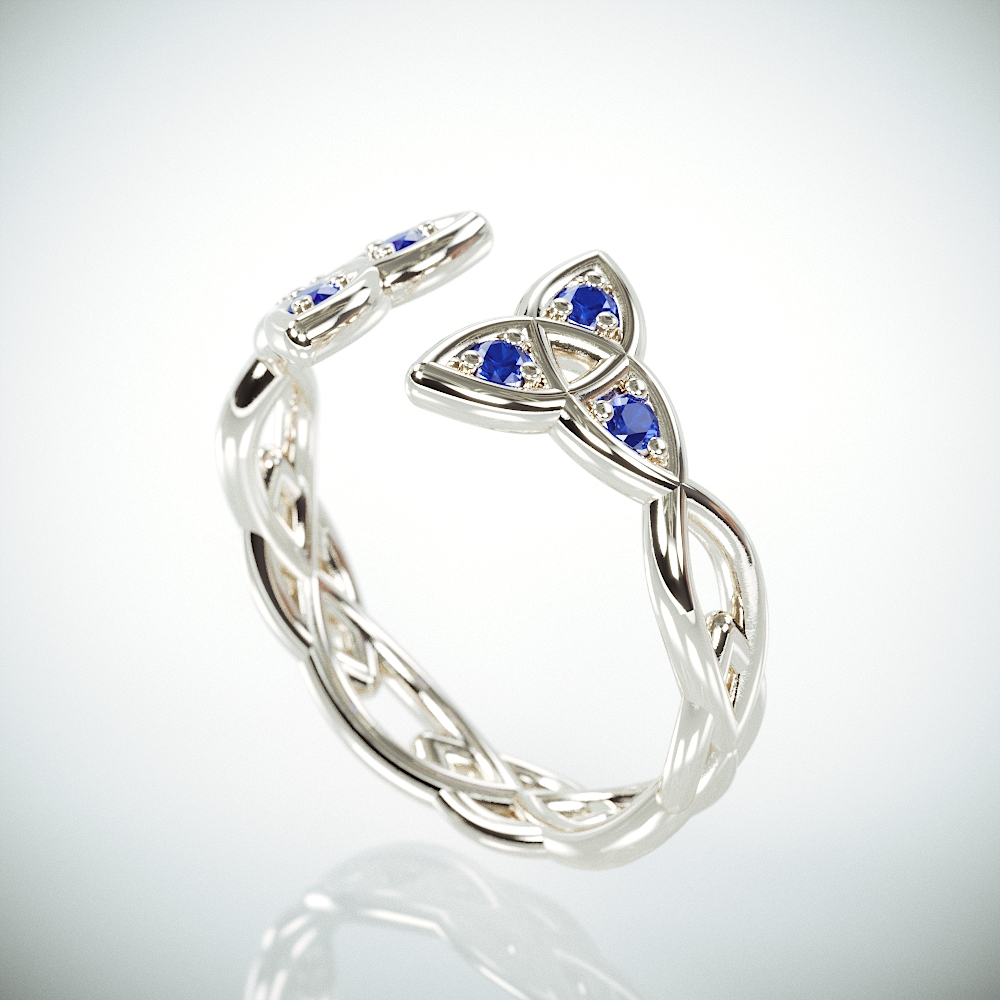 14k White Gold Celtic Trinity Knot Wedding Ring set with Blue Sapphire |14k gold Celtic triquetra wedding band set with tiny Sapphire