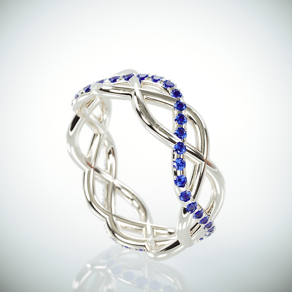 TB14k White Gold Eternity Ring set with Blue Sapphire | Celtic Blue Sapphire Ring | 14k Gold Sapphire Wedding BandD